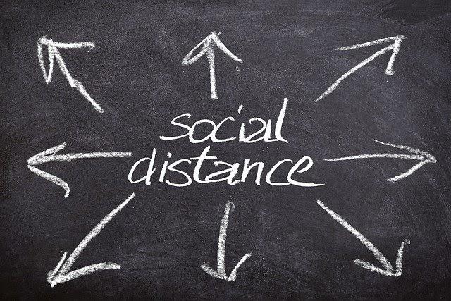 Social distance on chalkboard