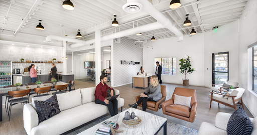 Employees in a TailoredSpace temporary office. IMage courtesy TailoredSpace.