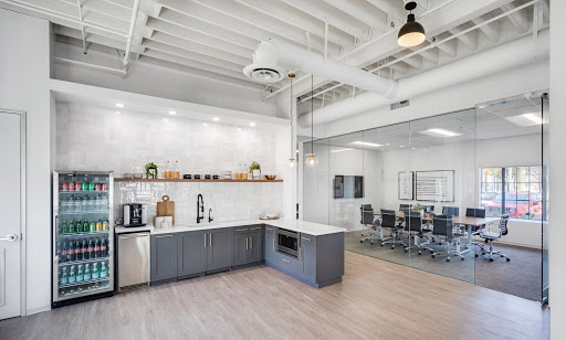 a snack area in a flexible workspace